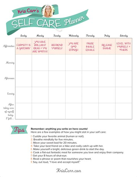 self care plan template a self care planner to get you through the week