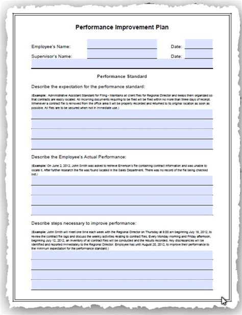 performance improvement plan template employee