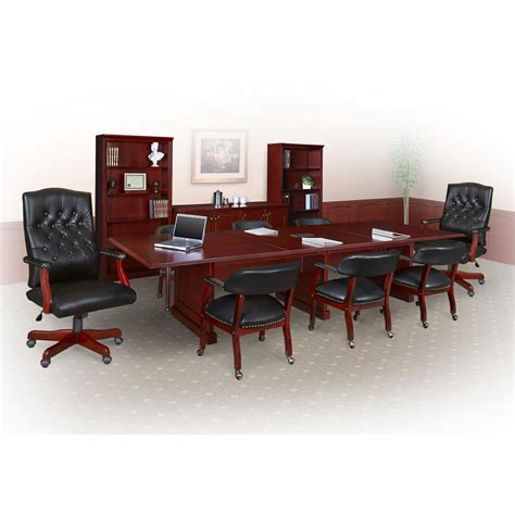 Modular Conference Table Prestige Mahogany 144 In Modular Conference Table Tvctrc14452mh The Home Depot