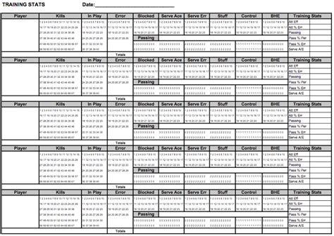 individual setter drills training stats recorder sheets