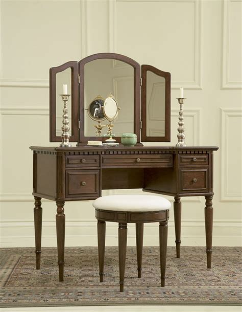 vanity with tri fold mirror and bench warm cherry finish vanity with tri fold mirror and bench