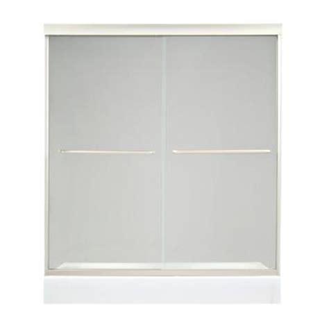 Satin Glass Shower Door Maax Tonik 59 1 2 In X 71 In Frameless 2 Panel Shower