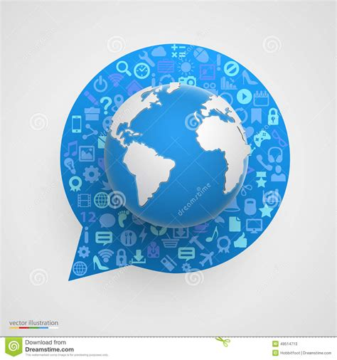 globe enterprise maps application world globe with app icons in form of chat stock
