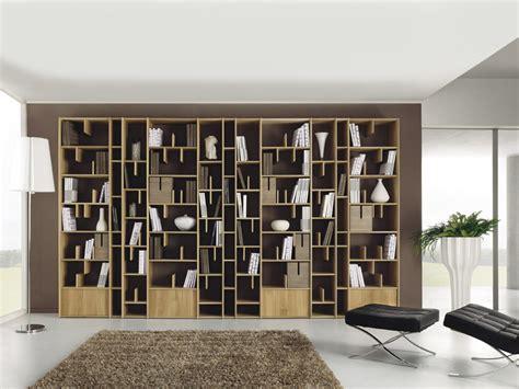 libreria enrico wall mounted wooden bookcase espace by domus arte design