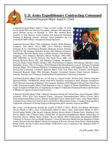 exle biography army promotion board biography csm angel clark ecc command sergeant major