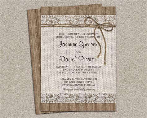 Hochzeitseinladung Jute by Rustikale Jute Hochzeitseinladung Diy Druckbare Rustikale