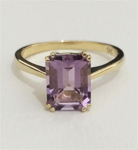 emerald cut amethyst ring engagement ring solitaire