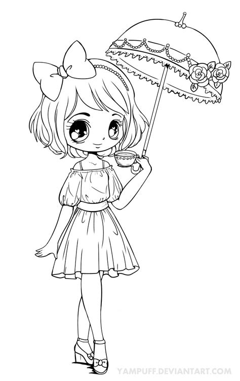 chibi coloring pages for adults chibi coloring pages umbrellagirl lineart by yampuff on