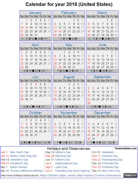 2018 Calendar United States Lhaps Reservations For Service