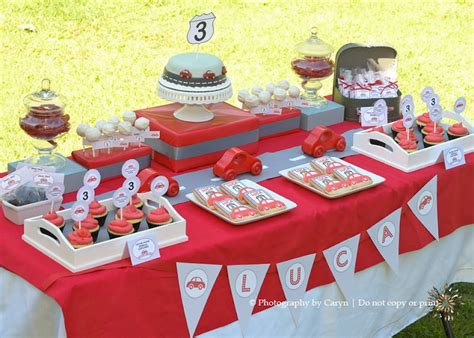 cars themed birthday ideas kara s party ideas route 3 red car 3rd birthday party