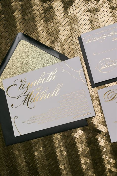 black and gold glitter wedding invitations foil black and gold glitter calligraphy wedding invitations