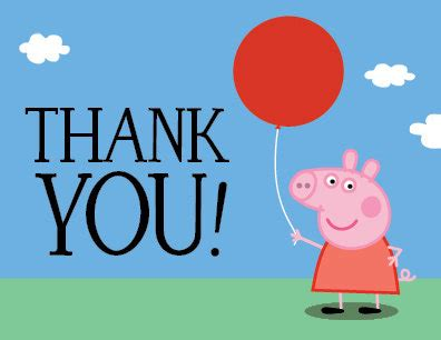 peppa pig thank you card template peppa pig birthday thank you card printable pdf