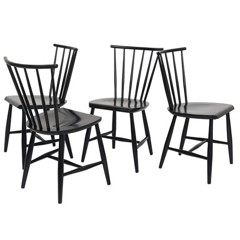 Spindle Back Dining Chairs Four 1950s Swedish Style Spindle Back Dining Chairs At 1stdibs