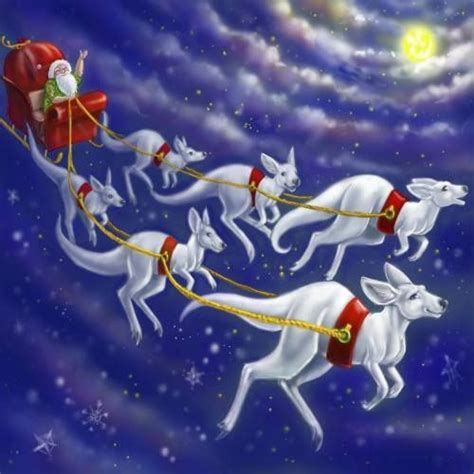 santa and sleigh delivering presents to australia