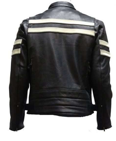 vented leather motorcycle men s vented leather motorcycle jacket with silver stripes