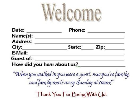 church welcome card template this visitor card click the link below church