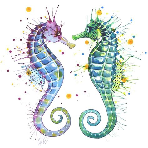 colorful seahorse colorful seahorse painting guardians of the sea by