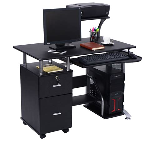 Laptop Office Desk Computer Desk Pc Laptop Table Workstation Home Office Furniture W Printer Shelf Ebay