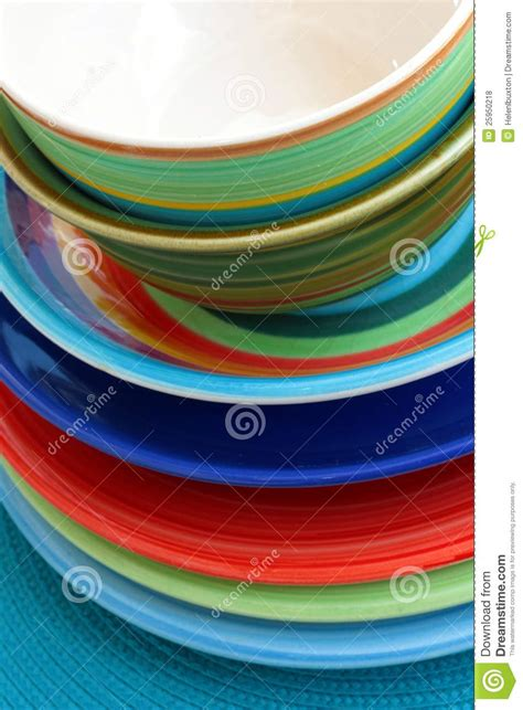 colorful plates colorful ceramic plates and bowls royalty free stock