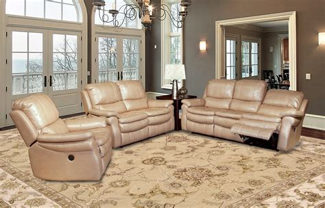 living juno sand leather reclining sofa set mjun