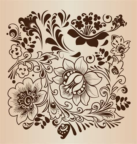 pattern drawing of flower decorative flower pattern vector illustration free vector