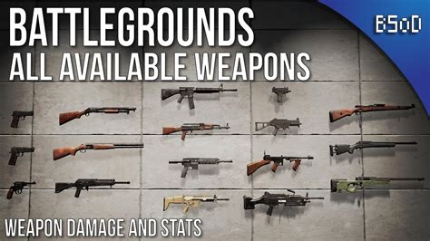 pubg best weapons pubg battlegrounds all weapons and statistics doovi