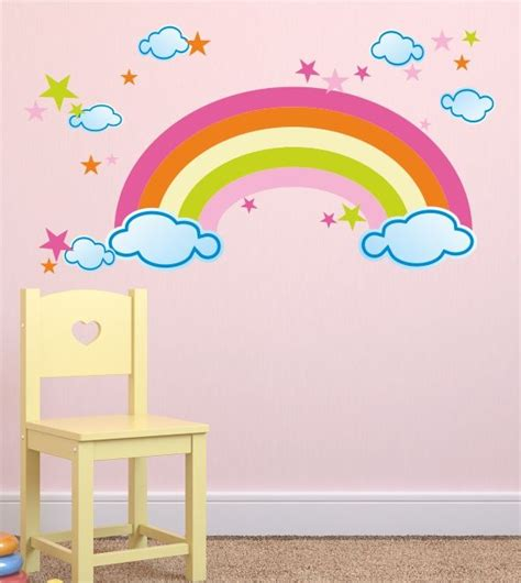 kinderzimmer wandgestaltung himmel wandaufkleber wandmotiv regenbogen wolken sterne