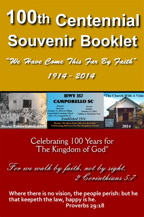 Official Website Of Mountain View Missionary Baptist Church Cobello Sc 2014 100th Church Anniversary Souvenir Booklet Template