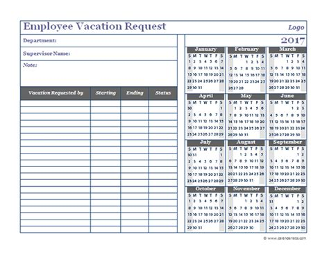 2017 Business Employee Vacation Request Free Printable Templates Employee Vacation Planner Template Excel