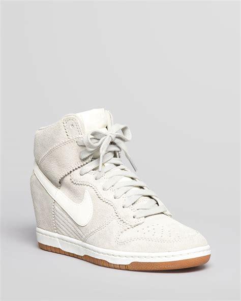 high sneakers wedges nike high top wedge sneakers dunk sky hi in white lyst