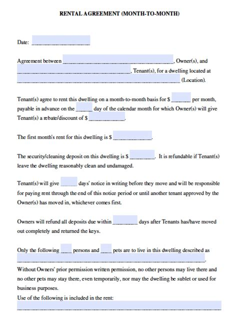rental agreement template california free california month to month lease agreement pdf