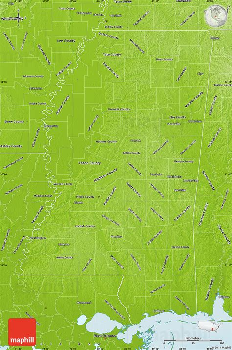 physical map of mississippi physical map of mississippi