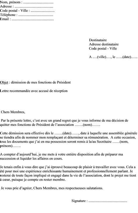 demission du bureau d une association loi 1901 lettre de demission pr 233 sident association loi 1901