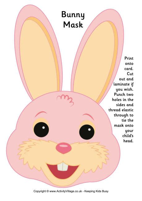 printable hare mask bunny mask printable