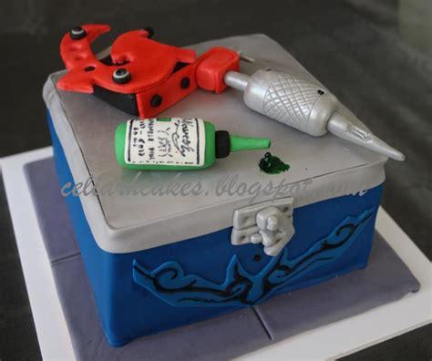 tattoo gun birthday cake box and tattoo machine cake by celia cakesdecor