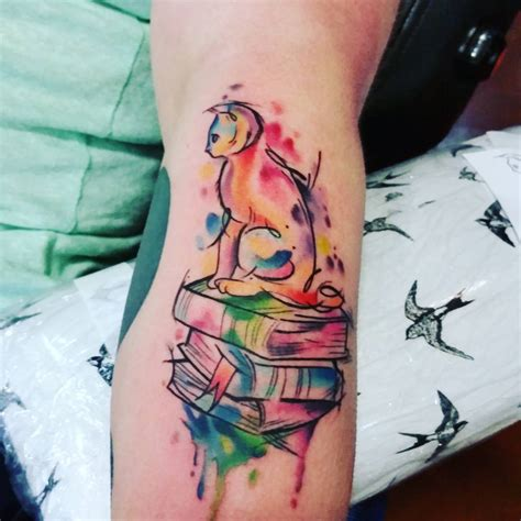 tattoo book designs watercolor cat on books animal designs