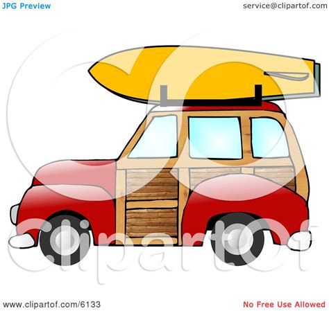 surf car clipart woody car with a surfboard on the roof rack clipart