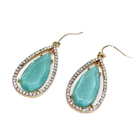 turquoise opal earrings opal mint turquoise teardrop stone statement boho earrings