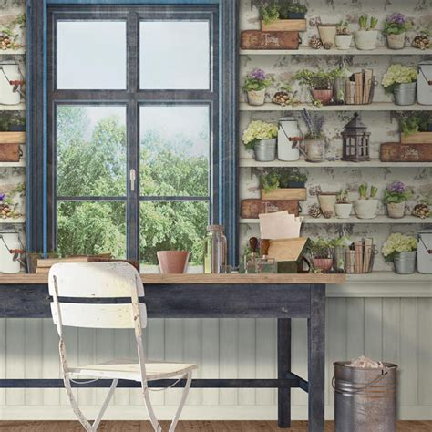 regal rustikal muriva potting shed multi coloured wallpaper tranquility