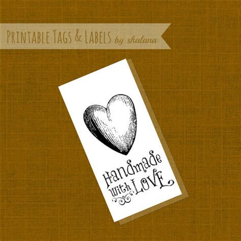 60 printable cardstock square hang tags with holes 2 x 2 handmade with love hang tag digital file downloadable by