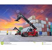 Crane Lifting At Container Yard Stock Images  Image 35800004