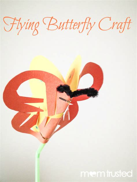 Construction Paper Butterfly Craft - flying butterfly craft straw and construction paper