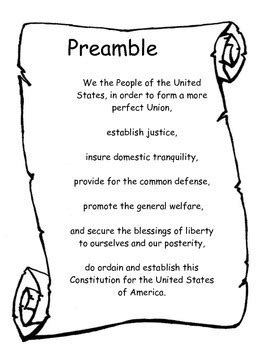 printable preamble us constitution preamble to the constitution of the united states by pray