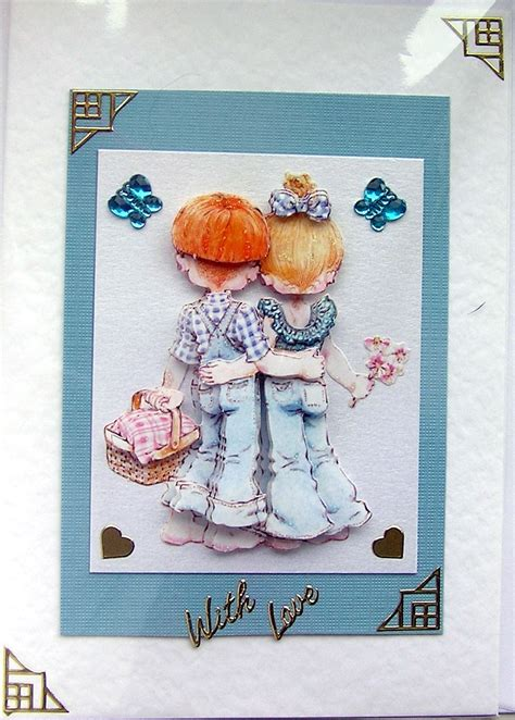 card decoupage courting crafted 3d decoupage card with
