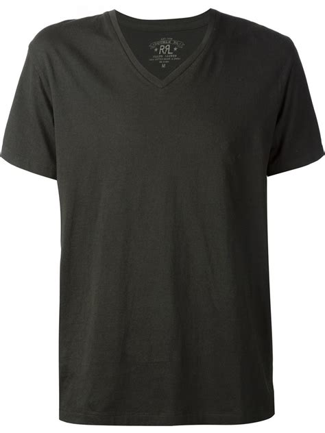 Black V Neck Shirt Sml rrl v neck t shirt in black for lyst