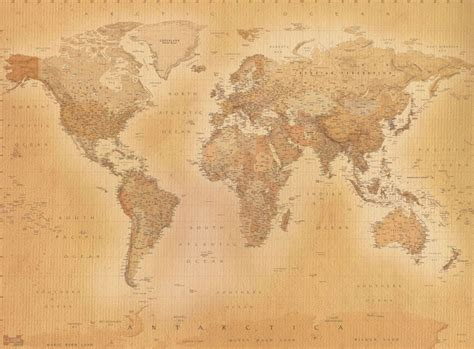 Classic World Map Wallpaper Wall - vintage world map wallpaper murals store