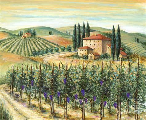 Tuscany Wall Murals tuscan vineyard and villa painting by marilyn dunlap