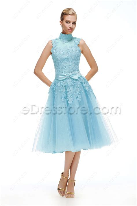 light blue tea length dress light blue lace vintage prom dresses tea length