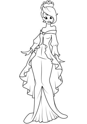 Dibujo de Princesa en el vestido de sirena para colorear
