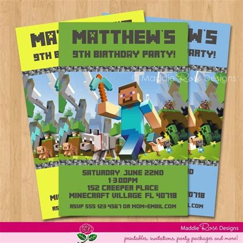 printable invitation minecraft free printable minecraft birthday invitations cakepins com